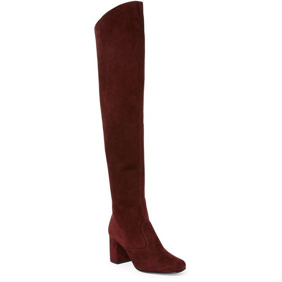 Saint Laurent Suede Over-The-Knee Block-Heel Boots (436.670 HUF) ❤ liked on Polyvore featuring shoes, boots, apparel & accessories, side zip boots, yves saint laurent, leather sole boots, suede leather boots and over the knee suede boots