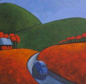 Robert Burt, The Road to Tranquility, acrylic, 36 x 36.