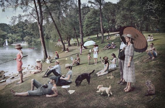 Sunny Afternoon on the Island of Singapore Eugene Soh (2014) Plexiglass, 120 X 80 cm A homage to George Seurat's Sunday Afternoon on the Island of La Grand Jatte. Eugene Soh's photo composite work consists of ordinary local people at a local reservoir (Upper Pierce Reservoir). The work clearly consists of local people and Singaporean elements but it is nevertheless composed in a formal and somewhat strange and unfamiliar way.: