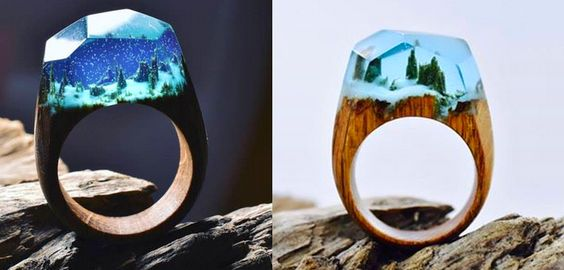 aneis de madeira e resina - Google Search