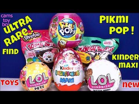 Surprise Toys Ultra Rare Lol Pets Glitter Pikmi Pops Kinder Maxi Shopkins Squish Dee Lish 2 Opening Youtube Shopkins Lol Christmas Bulbs