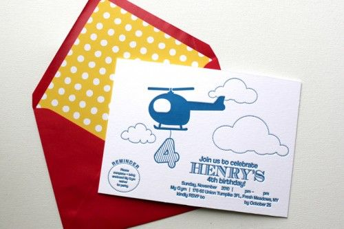 Helicopter Birthday Party Invitations from We Heart Paper