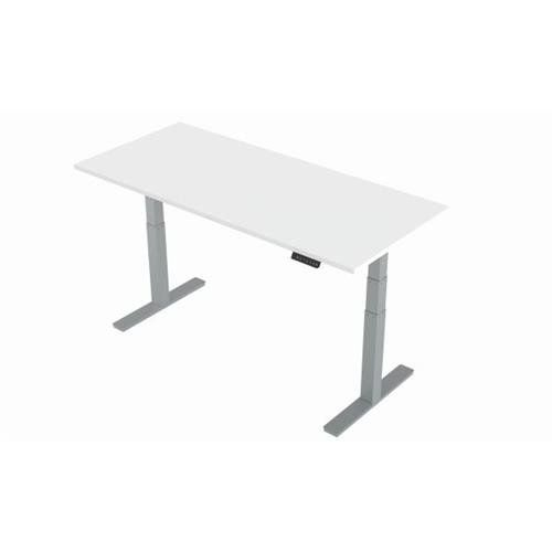 540 Buy Air 1800 800 White Height Adjustable Desk With Silver Legs Ref Ha01012 Ha01012 05056178103178 Adjustable Height Desk Height Adjustable White Wood