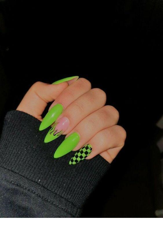 Green Nails Green Nails Grune Nagel Ongles Verts Unas