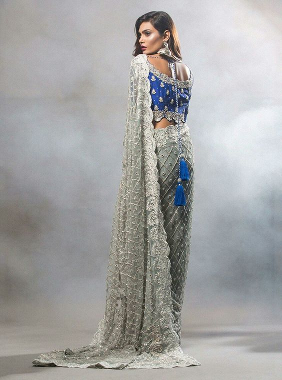 Grey Embroidered saree with blue blouse for brides