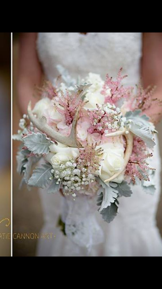Rustic elegant bridal bouquet, her daddy's deer antlers(cause she hasn't got her first buck yet) wedding with deer antlers