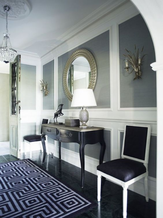 Entry ways grey and natale on pinterest for Dining room molding panels