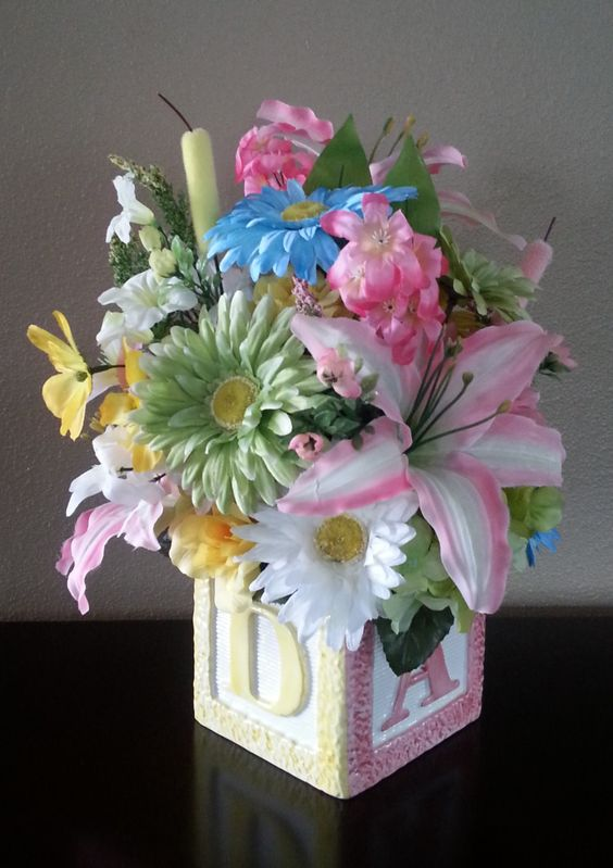 faux flowers floral arrangement baby baby shower centerpiece baby