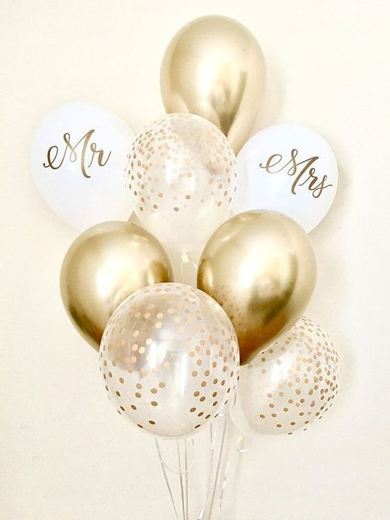 K'MIch Weddings - wedding planning - balloon decoration - gold, white, confetti balloons with mrs and mr printed on them