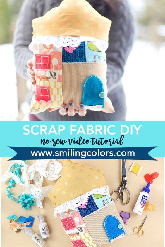 A fun No sew project to use up some of your fabric scraps from your craft stash! Fabric Stash Buster Projects. Smitha Katti www.smilingcolors.com