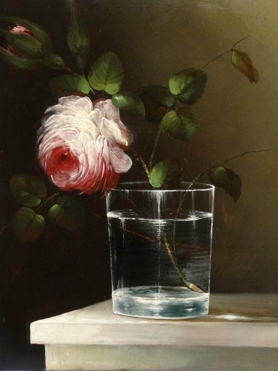 Henri Fantin-Latour 19th Century  Still Life Rose Glass Antique: