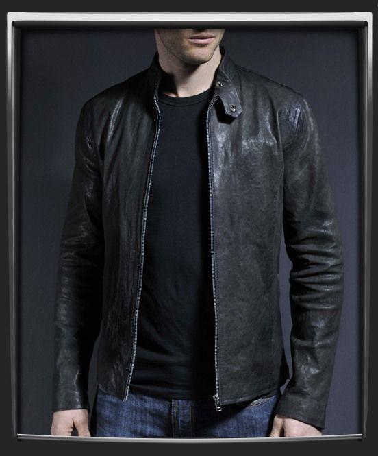 Evolver Mens leather jacket in vintage grey. Just like the black ...