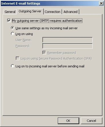 Windstream Email Settings for Outlook- More Settings