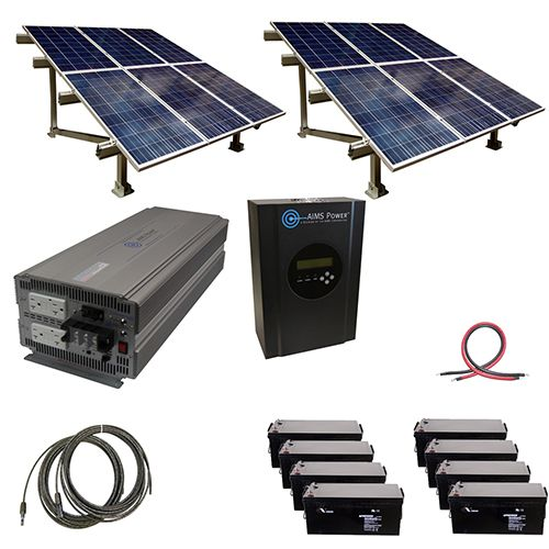 2880 Watt Off Grid Solar Kit With Solar Rack And 5000 Watt Power Inverter 48 Volt Solar Panels Solar Kit Off Grid Solar