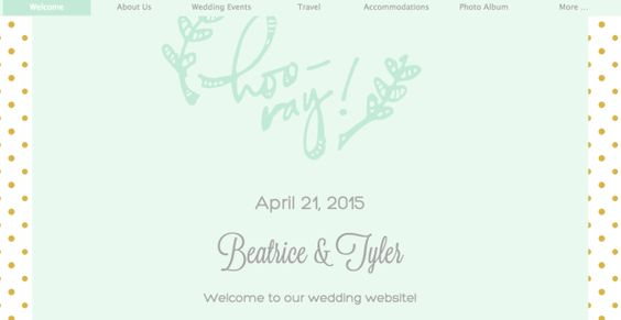 Five for Friday: Free Wedding Website Templates that Are Pretty Rad  Hoo-Ray! in Seafom Website Template at WeddingWire.com
