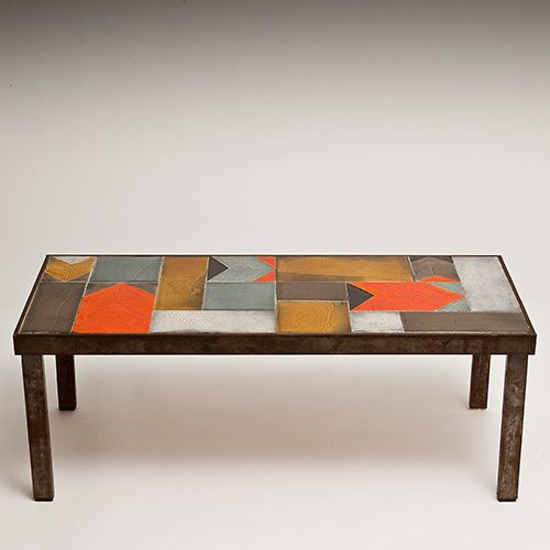 Roger Capron Vallauris Coffee Table Circa 1960 Glazed Ceramic Tiles Http Www