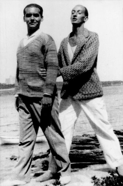 The poet Federico Garcia Lorca and a young Salvador Dali (storied to be gay lovers) near Dalis family summer residence in Cadaques, Spain \u2013photograph by