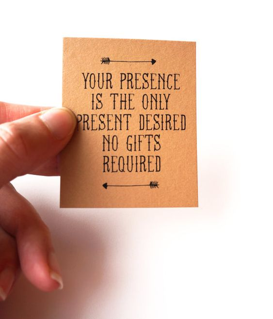 Your Presence Is The Only Present Desired No Gifts Invitation Insert