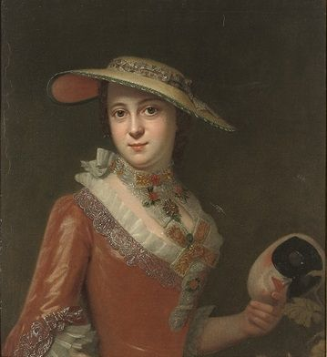 Circle of Antoine Pesne (Paris 1683-1757 Berlin) Portrait of a lady, half-length, in a red embroidered dress, and a straw hat, a mask in her left hand: