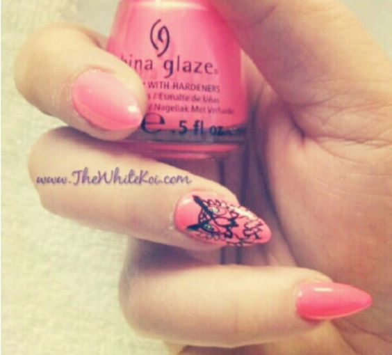 Stiletto nails hot pink owl nail design
