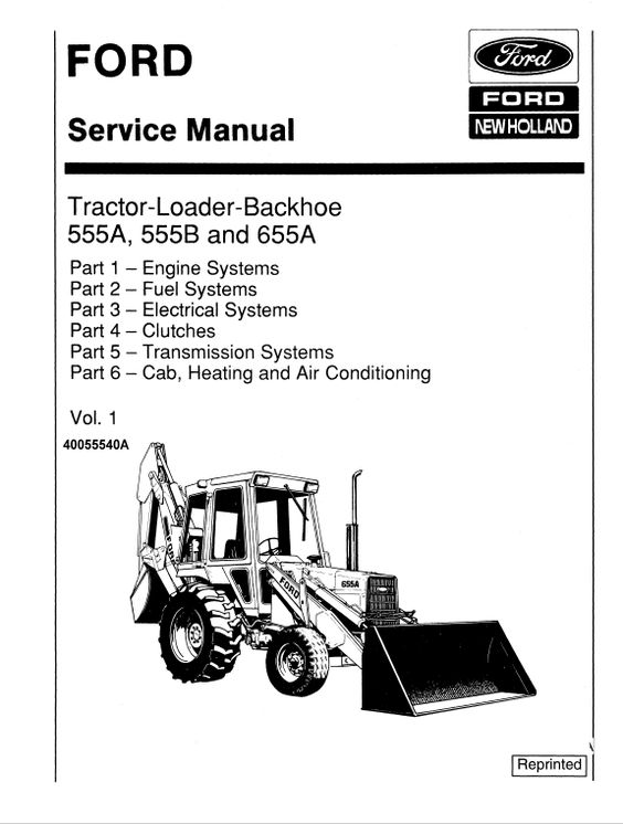 Ford 555a 555b And 655a Backhoe Loader Service Manual Backhoe Backhoe Loader Ford