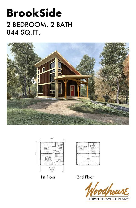 This Modern Timber Frame Cabin Home Is Small And Simple With An Open Floor Plan And A Sl Tiny Houses Plans With Loft Cabin Floor Plans Small House Floor Plans