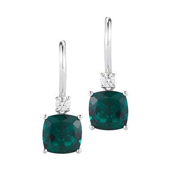 Cushion Cut Lab Created Emerald and Diamond Earrings 14kt White Gold
