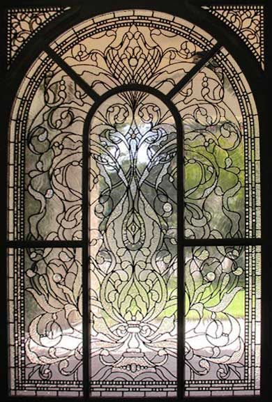 ZOOM to large leaded glass Keech Victorian style window: