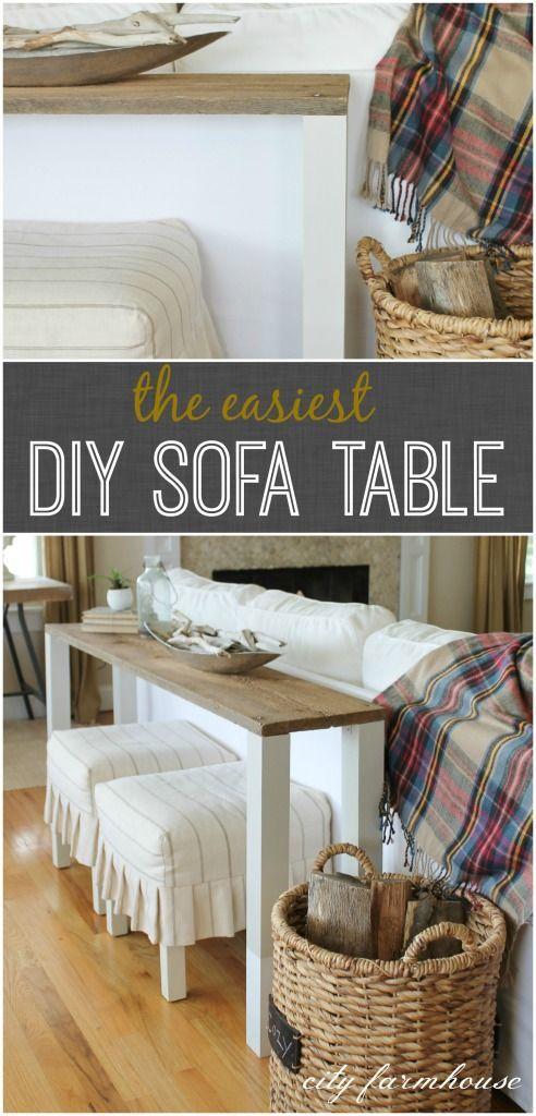 The easiest diy reclaimed wood sofa table pandora for Sofa table tutorial