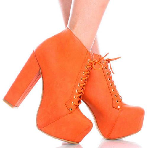 NEW Orange Lace Up Women Chunky High Heel Hidden Platform Ankle ...