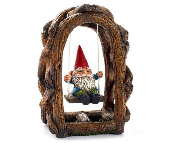 Fairy Garden Gnome on Swing at Big Lots Fairy gardens ideas