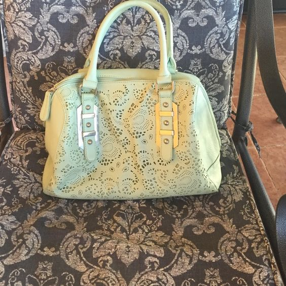 Pastel green handbag with lace buckle front design Double zip summer bag with two inside pockets and a zippered inner pocket as well Apt. 9 Bags
