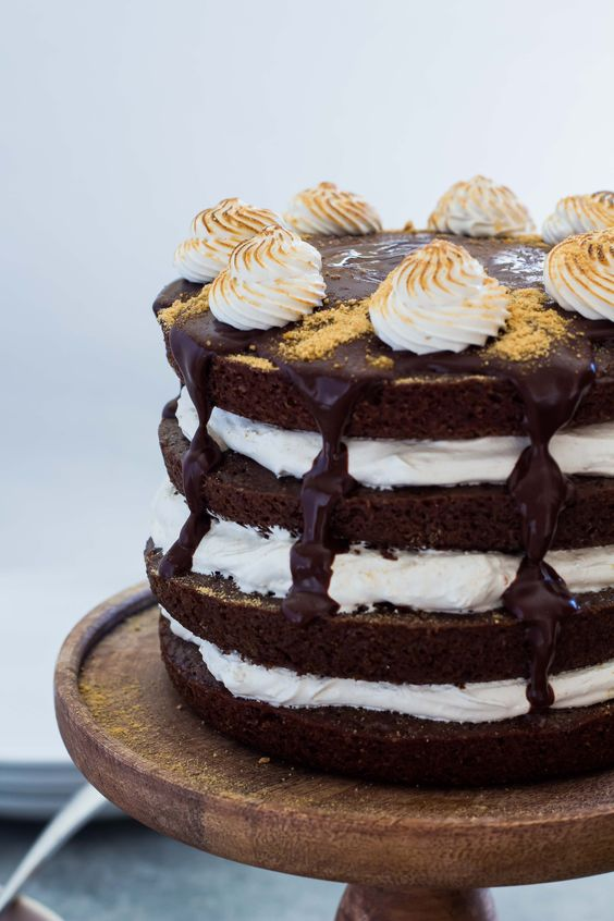 Chocolate S'mores Cake with Homemade Marshmallow Fluff