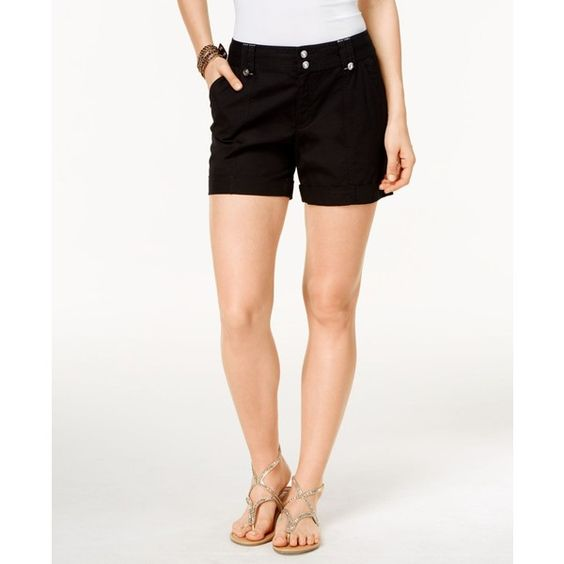 Inc International Concepts Cuffed Twill Shorts, ($25) ❤ liked on Polyvore featuring shorts, deep black, twill shorts, cuff shorts, cuffed shorts and inc international concepts