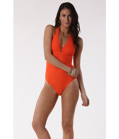 LAUREN Ralph Lauren Heat Wave Ring Front Mio One Piece Calypso Orange