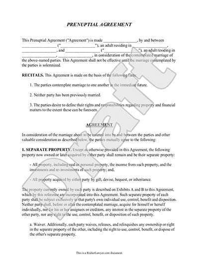 5 Prenuptial Agreement Form Templates Word Excel