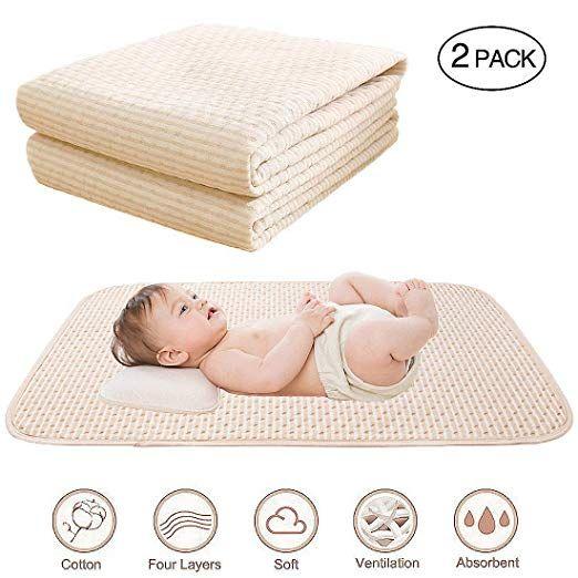 Amazon Com Baby Waterproof Bed Pad Organic Cotton Mattress Protector Reusable Incontinence 4 Protective Layers U Cotton Mattress Bed Pads Waterproof Mattress