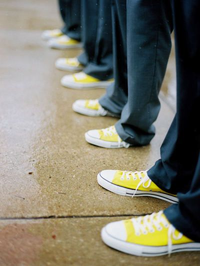 Have all the men were the same colored shoes and yellow chucks add a bright pop of color to a gray or black suit #yellow #orange #wedding: