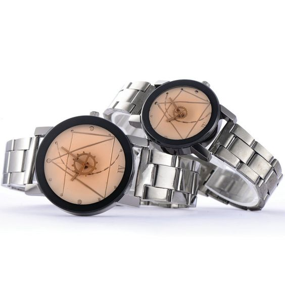 $2.54 (Buy here: http://appdeal.ru/9m6j ) Romantic Lovers Watches Fashion Stainless Steel Band Wrist Quartz Watch Men & Women Retro Analog Wristwatch for just $2.54