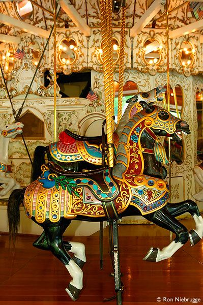 Riverfront Park is home to the famous 1909 hand carved Looff Carrousel.  Spokane, Washington.: