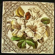 Beautiful Antique Victorian Flower Tile c1880