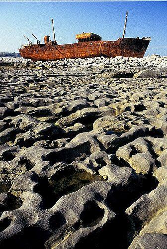 The Plassy, shipwrecked in 1961, Aran Islands   Galway Bay, Ireland.