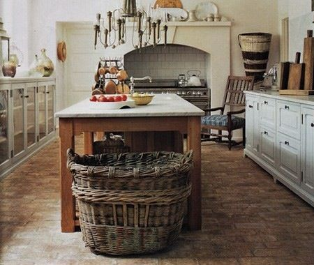 Farmhouse kitchen brick floors home on the range pinterest stove glasses and cabinets - Pinterest country kitchen ...