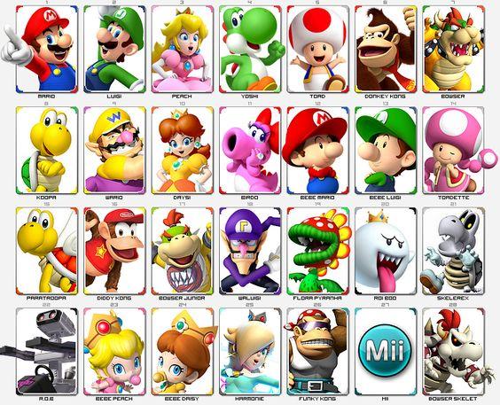 Super Mario Kart (NES) : Mario, Luigi, Peach, Yoshi, Donkey kong, Toad, Bowser, Koopa | Super Mario 64 (N64) : Wario Mario Kart Double Dash (GC) :|Daysi, Birdo, Bébé Mario, Bébé Luigi, Toadette Par...
