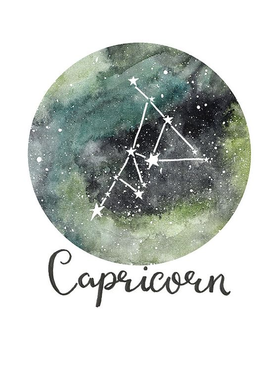 TITLE: Capricorn - Zodiac Constellations SIZE: A5 - Unframed art print of my original painting. Printed on beautiful Bockingford 190g paper which has been specially designed for printing artwork. All prints have a small white border. Each print is signed and dated by the artist and are carefully packed in a clear sleeve and a hard backed envelope to ensure it arrives in pristine condition. Artwork © Sarah Frances. http://www.sarahfrances.co.uk https://twitter.com/sa...
