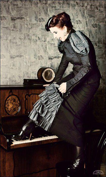 Shoe on a piano.