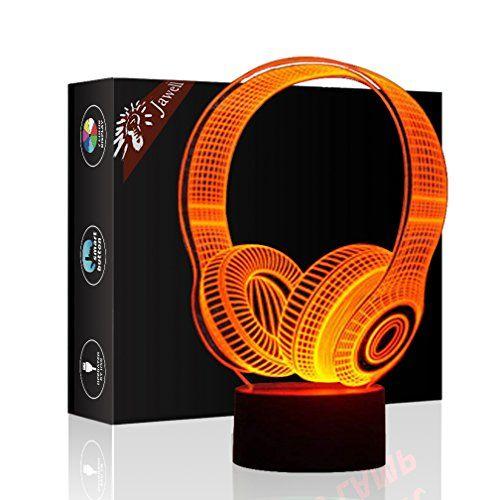 Ecouteurs Illusion 3d Lampe Cadeau D Anniversaire De Nuit A Cote Table Jawell 7 Couleurs Auto Changement Tactile De Decorat Illusion 3d Decoration Bureau Lampe