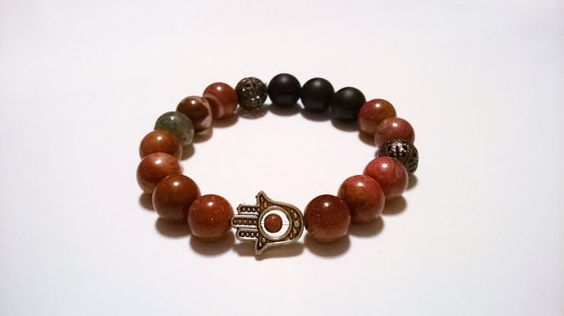 Mens Onyx, Goldstone and Jasper mala beads bracelet. Appropriate for women too. This bracelet can be worn on its own or stacked with others. #Hamsa #Christmas #MalaBracelet #Mala #ChristmasGifts #Christmas #GiftForHim #GiftForHer #Etsy