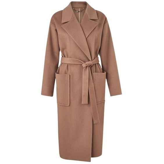 Jigsaw Luxury Wrap Coat Antique Pink (€500) ❤ liked on Polyvore