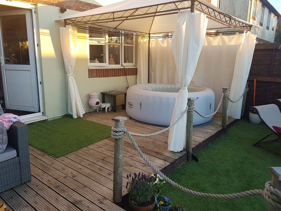 Lay-Z-Spa on Small Deck with Soft Top Gazebo